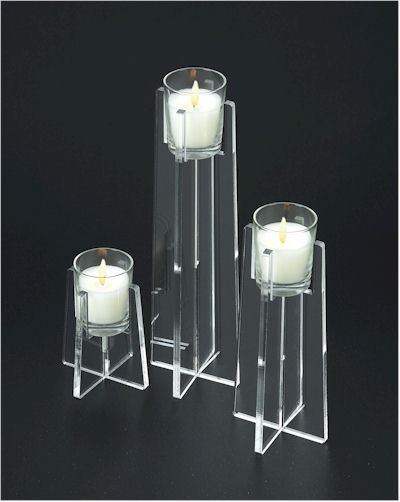 Tapered Acrylic Candle Holder Set