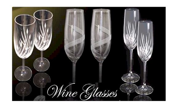 Plain and crystal etched wine glasses